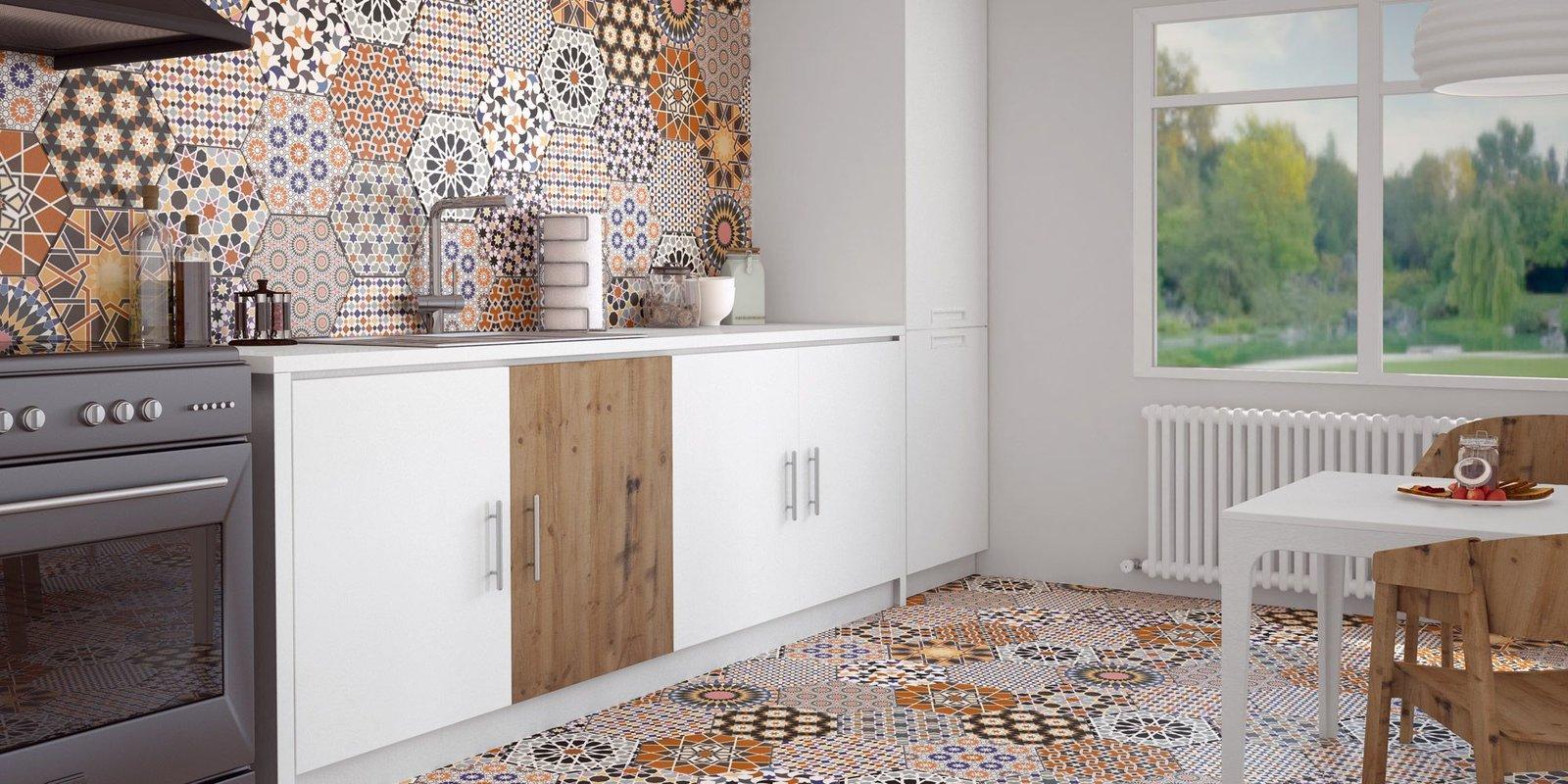 Фото кухонь с ламинатом в стиле пэчворк